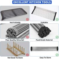 Folding dish rack   Heavy Duty Stainless Steel Dish Drainer for Dishes, Plates, Cups, Bottles (Black)