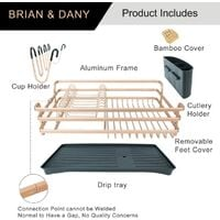 Aluminum Dish Drainer with Removable Tray, 46 x 37.8 x 15.7 cm, Champagne gold