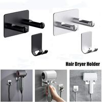 Hair Dryer Holder For Dyson, Wall Mounted Compatible with All Hair Dryers, Waterproof Stainless Steel Adhesive Wall Hair Dryer Holder for Bathroom / Bedroom