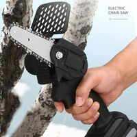 10cm Cordless Mini Chainsaw, 26V Rechargeable Mini Chainsaw, Adjustable Speed Portable Pruning Saw with Battery, For Cutting Wood, Trimming Gardening (Black)