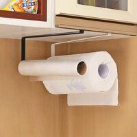 Paper Towel Rack, Kitchen Bathroom Roll Holder Shelf, Hanging on Cabinet Door - No Drilling (Black)