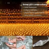 200 LED light garland - 3 x 2 m - For outdoor use - For winter garden - 8 modes - Warm white - Electric operation - Christmas lighting - Indoor and outdoor