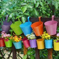 Set of 6 Indoor Hanging Metal Flower Pots with Removable Hook Decoration Gardening