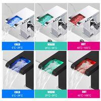 Bathroom Mixer Faucet, RGB Color Changing Waterfall, Bathroom Sink Faucet, Sink Faucet, Single Handle Toilet Mixer Faucet —— Black Shorts