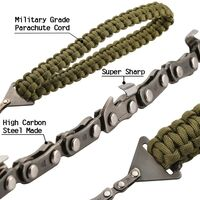 Portable Chainsaw Hand Saw with Parachute Rope Handles Multifunction Nylon Kit, Cable Saw for Survival Gear, Camping, Hunting.