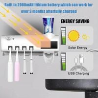 Brush Holder & agrave; Teeth UV Sterilizer, Brush Holder Electric Teeth & agrave; Wall Rechargeable Solar Power with Sterilizer Function, Automatic Toothpaste Dispenser