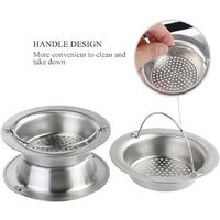 2pcs Stainless Steel Portable Kitchen Sink Strainer, Drain Stopper for Home Bathroom Kitchen Sinks (Small)