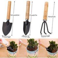 Small Shovel Rake Wood Handle Bonsai Handle Wood Head Metal Mini Shovel Rake Set Durable Easy Carry for Indoor Plants Pot Tools, Transplants, Beach Toys Etc — 6 Pcs