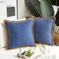 2 Pieces Decorative Cushion Covers Linen Pillow Case Navy Blue Cotton Linen Sofa Cushion Cover for Bedroom Living Room Office Car Sofa 45X45Cm (without Pillow Core)