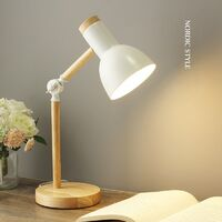 Creative Nordic Style Wood Desk Lamp Foldable Iron Table Lamp Eye Protection Reading Lamp for Living Room Bedroom Home Decoration White - White Light