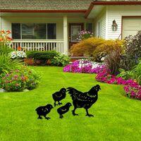Realistic Hen, Lawn Floor Decoration, Chicken Yard Art Garden Chicken Yard Art, Garden Decoration Exquisite Silhouette of Chickens for Lawn Path Sidewalk Garden (4PCS)