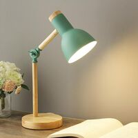 Creative Nordic Style Wood Desk Lamp Foldable Iron Table Lamp Eye Protection Reading Lamp For Living Room Bedroom Home Decoration Green- White Light