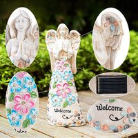 Garden Angel Figurines Outdoor Decor, Garden Art Outdoor for Fall Winter Decor, Solar Angel with 6 LEDs for Patio, Lawn, Yard Art, Cemetery Grave Decoration, Sympathy Gift, Housewarming Gift
