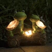 Garden Statue Turtles Figurine - Cute Frog Face Turtles Animal Sculpture with Solar LED Lights for Indoor Outdoor Decorations, Patio Yard Lawn Ornaments, Gifts for Mom, 10.2 x 8.5 Inch