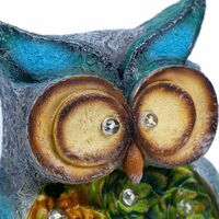 Garden Owl Statue, Solar Powered 10 LED Lights, Ornaments for Yard, Lawn, Spring, Easter, Indoor Outdoor Decorations, 10 X 6 Inches