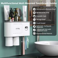 Toothbrush Holder Wall Mounted, Automatic Toothpaste Dispenser Squeezer Kit -Magnetic Toothbrush Holder for Bathroom and Vanity, 4 Brush Slots 2 Cups 1 Cosmetic Drawer1 Large Storage Tray