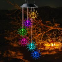 Garden Gift Solar Sun Wind Chimes Mom Gifts Wind Chimes for Outside String Light LED Outdoor Christmas Decor Christmas Lights Memorial Mom Gift for Birthday Garden Sunshine Color Changing Night Light