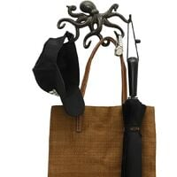 Octopus Wall Hanger, Rustic Design Wall Coat Hanger, Heavy Duty Coat Hook with 6 Tentacles - Black