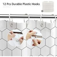 Hexagon Fabric Shower Curtain for Bathroom, Modern Bath Decor with Hooks, Hotel Quality, 72x72 Inch, Black and White (White)