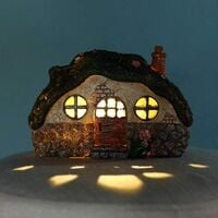 Fairy Garden Statue House Figurine, Lovely Chimney House with Solar LED Lights for Indoor Outdoor Patio Yard Lawn Ornaments Gift