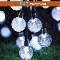 Solar String Lights, 21.3Ft 30 LED Solar Powered Lights Crystal Ball, 8 Modes Waterproof Fairy Lights Clear Globe for Garden, Patio, Yard, Balcony and Christmas Decoration, White