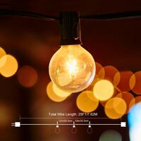 String Lights, Connectable String Lights with 25 Warm White Bulbs G40 String Lights, Indoor and Outdoor Decoration for Patio, Cafe, Garden, Party Decoration