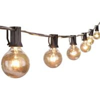 Outdoor String Lights 25 Feet G40 Globe Patio Lights with 27 Edison Glass Bulbs(2 Spare), Waterproof Connectable Hanging Light for Backyard Porch Balcony Party Decor, E12 Socket Base,Black