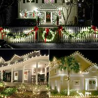 25 LED C9 Xmas Lights White + 100 LED C5 Christmas String Lights Warm White for Xmas Tree Indoor Outdoor Decorations
