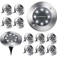 Solar Ground Lights, 12 Pack 8 LED Solar In-Ground Lights, Waterproof Solar Disk Lights Garden Lights Outdoor Landscape Lighting for Patio Pathway Lawn Yard Deck Driveway Walkway, Cool White