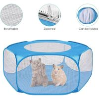 Small Animal Playpen, Pet Cage with Top Cover Anti Escape, Waterproof Small Animal Cage Transparent Yard Fence for Dog Cat Bunny Puppy Rabbits Guinea Pig Hamster Chinchillas Playpen