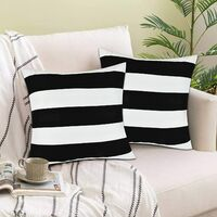Set of 2 Decorative Pillow Covers Square Stripe Pillow Covers Modern Farmhouse Cushion Case with Hidden Zipper Home Decor for Living Room Patio Sofa Couch Chair 20 x 20 Inch, Black