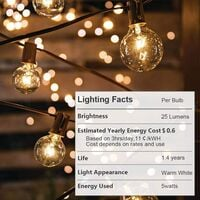 Outdoor String Lights 25ft Patio Lights with 27 G40 Bulbs (2 Spare) Connectable Globe String Lights for Party Tents Patio Gazebo Porch Deck Bistro Backyard Balcony Pergola Outside Decor