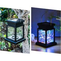 4 Pack Hanging Solar Lights Outdoor, Color Changing Solar Lantern Lamps, Colorful Solar Powered Outdoor Lights with 30 LEDs, Decoration Lights for Patio, Garden, Tree, Umbrella, Landscape