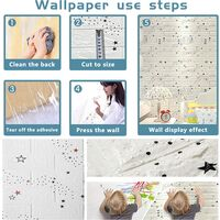 3D Wallpaper for Kids, 3D Wallpanels Peel and Stick Self-Adhesive Waterproof Star White Wallpaper Tiles for Bedroom Background Home Decor DIY - 5 Pcs