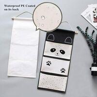 Hanging Organizer Cartoon Animal Hanging Bags Wall Door Hanging Storage Bag Nursery Utensil Bag with 3 Pocket - Panda Black & White