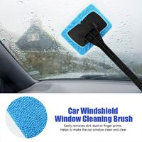 Car Window Cleaning Brush Automotive Window Dust Removal Tool Car Windshield Cleaning with Detachable Handle (Light Blue)