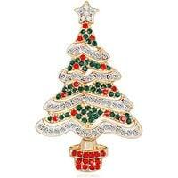Christmas Tree Brooch Pin Multicolor Crystals Rhinestone Christmas Tree Broaches Pins Winter Fashion Jewelry
