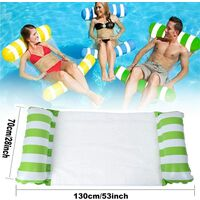 Pool Hammock, Set of 2 Floating Hammock Floating Bed 4-in-1 Inflatable Lounge Chair Foldable Floating Hammock Portable Ultralight Float Hammock, Orange + Green