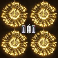 Firework Lights, 4 Pack String Lights 600 LED Starburst Lights Copper Wire Lights, 8 Modes Battery Operated Fairy Lights with Remote, Waterproof Decorative Hanging Lights Party Garden Christmas