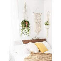 Macrame Plant Hanger Indoor Hanging Planter Basket with Wood Beads Decorative Flower Pot Holder No Tassels for Indoor Outdoor Boho Home Decor 35 Inch, Ivory