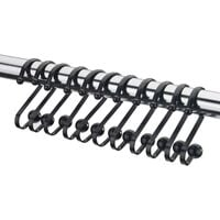 Shower Curtain Rings, Durable Rust-Resistant Metal Shower Curtain Hooks for room Shower Rod - Set of 12, Black