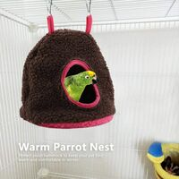 Bird Hammock, Fleece Warm Plush Bird Parrot Hammock Cage Toy Winter Warm Bird Nest House Parakeet Cabin Parakeet Cockatiel Cockatoo Conure Canary Unusual Finch (Dark Brown)