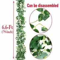 Artificial Flowers Silk Wisteria Vine 5pcs 6.6ft/Piece Ivy Leaves Garland Wisteria Artificial Plants Greenery Fake Hanging Vines Green Leaf Garland for Wedding Kitchen Home Party Decor (White)