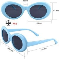 10 Pairs Clout Goggles Oval Sunglasses 10 Colors Thick Frame Round Lens Goggles Retro Kurt Mod Goggles for Girls Boys (Bonus: 1 Pc Eyeglasses Cloth)