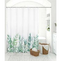 Fabric Shower Curtain, Green Herbs Shower Curtains, Water Resistant Heavy Weighted Cloth Curtain for Showers, Bathroom Leaves Plan Decorations, 60 x 72