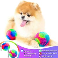 4 Pieces Light Up Dog Balls Glowing Elastic Balls LED Flashing Spike Pet Balls Molar Ball Pet Light Color Balls Interactive Pet Toys for Cats Dogs Chewing Playing (2.2 Inch, 2 Styles)