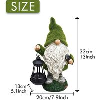 Flocked Garden Gnome Statue, Large Outdoor Gnome with Solar Lights, Funny Garden Figurines for Outdoor Home Yard Decor