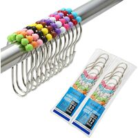 2 Pack Shower Curtain Hooks Rings, Stainless Steel Rust-Resistant Shower Curtain Rings and Hooks-Set of 24-Colorful