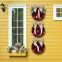 Christmas Decorations - Joy Sign - Buffalo Check Plaid Wreath for Front Door - Rustic Burlap Wooden Holiday Decor for Home Window Wall Farmhouse Indoor Outdoor