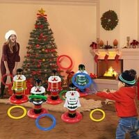 5 Pack Christmas Nutcrackers Ring Toss Christmas Party Games Toys Inflatable Ring Toss Kids Family Christmas Party Supplies Decoration Indoor Outdoor Games(5 Scoreboard Nutcracker, 8 Rings)